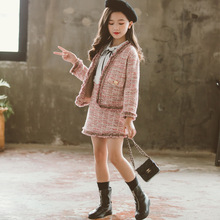 Fashion Girls Clothing Sets 2019 Autumn Winter Coats + Shirt + Skirts 3pcs Clothes for Solid Cute Teens 6 7 8 9 10 12 Years Old недорого