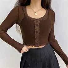 Lace Long Sleeve Crop Tops 2021 women Sexy O Neck Stitching Mesh See-Through Casual T-shirt Streetwear Tee Shirt Spring Summer
