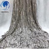 BEAUTIFICAL african lace fabrics Latest style 3d tassels sequins net lace fabrics 5yards/lot nigerian lace fabrics ML5N588