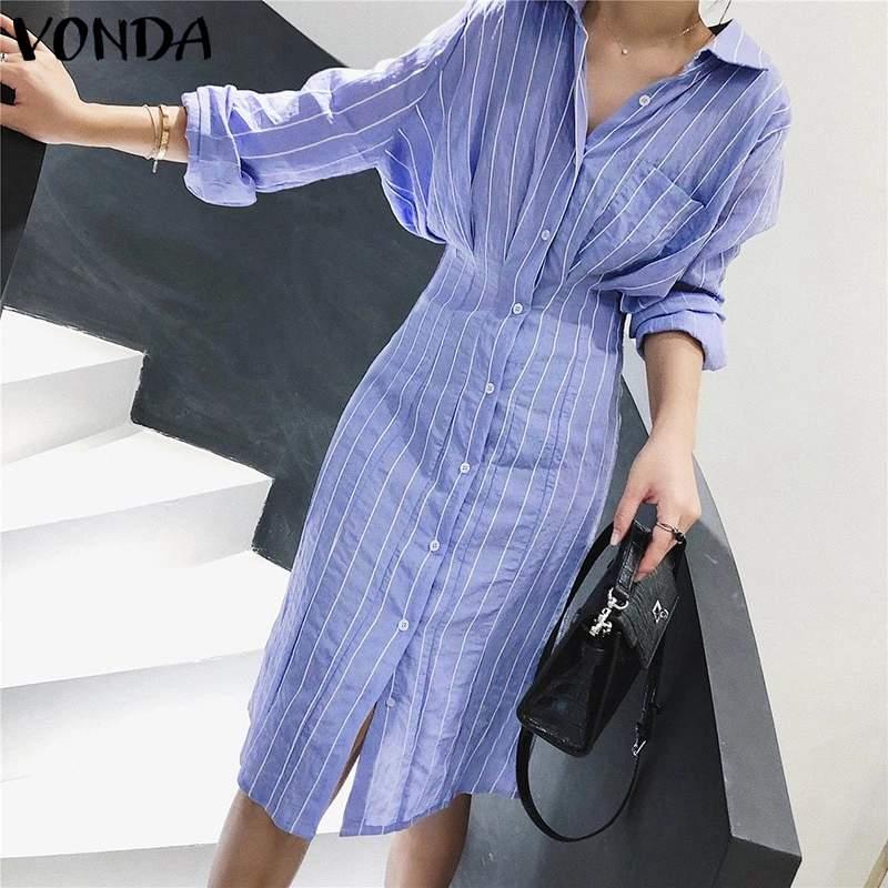 VONDA Women Dress Vintage Sexy Lapel Neck Long Sleeve Shirt Striped Dress Office Printed Sundress Plus Size Bohemian Vestido