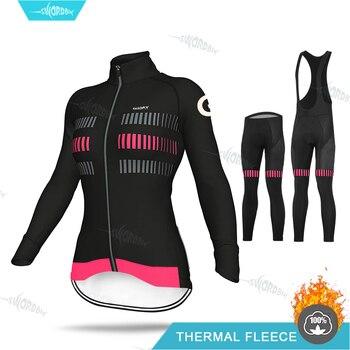 Lady Cycling Jersey Long Sleeve Set Women Winter Clothing Fashion Road Bike Warm Shirt Pro Thermal Fleece