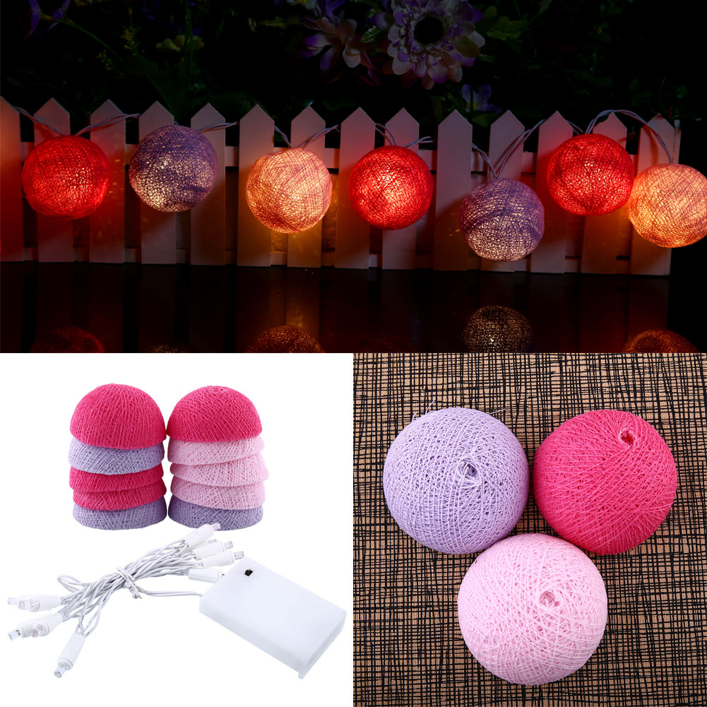 Cotton Ball Lights LED String Light Christmas 10Ball Outdoor Decor Holiday Lighting Gift Pink+Blue Home Wedding Bedroom Party