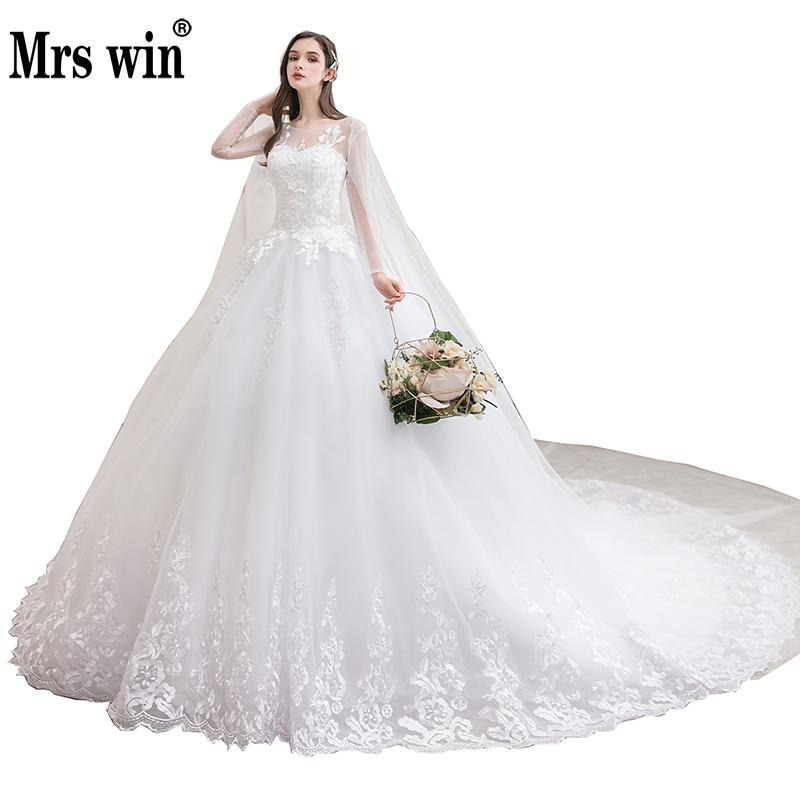 Wedding Dress 2020 New With Trian Full Sleeve Ball Gown Princess Luxury Bride Dress Plus Size Wedding Dress Vestido De Noiva