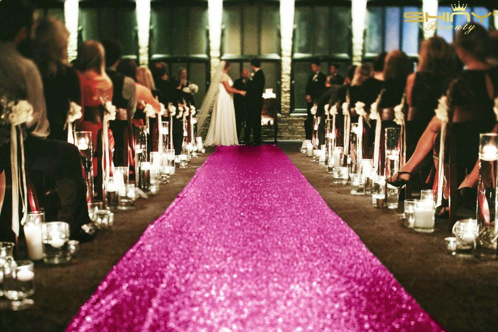2FTX15FT Wedding Aisle Runner Hot Pink Glitter Carpert Runners Sequin Aisle Carpets Wedding Ceremony Decor-M1024