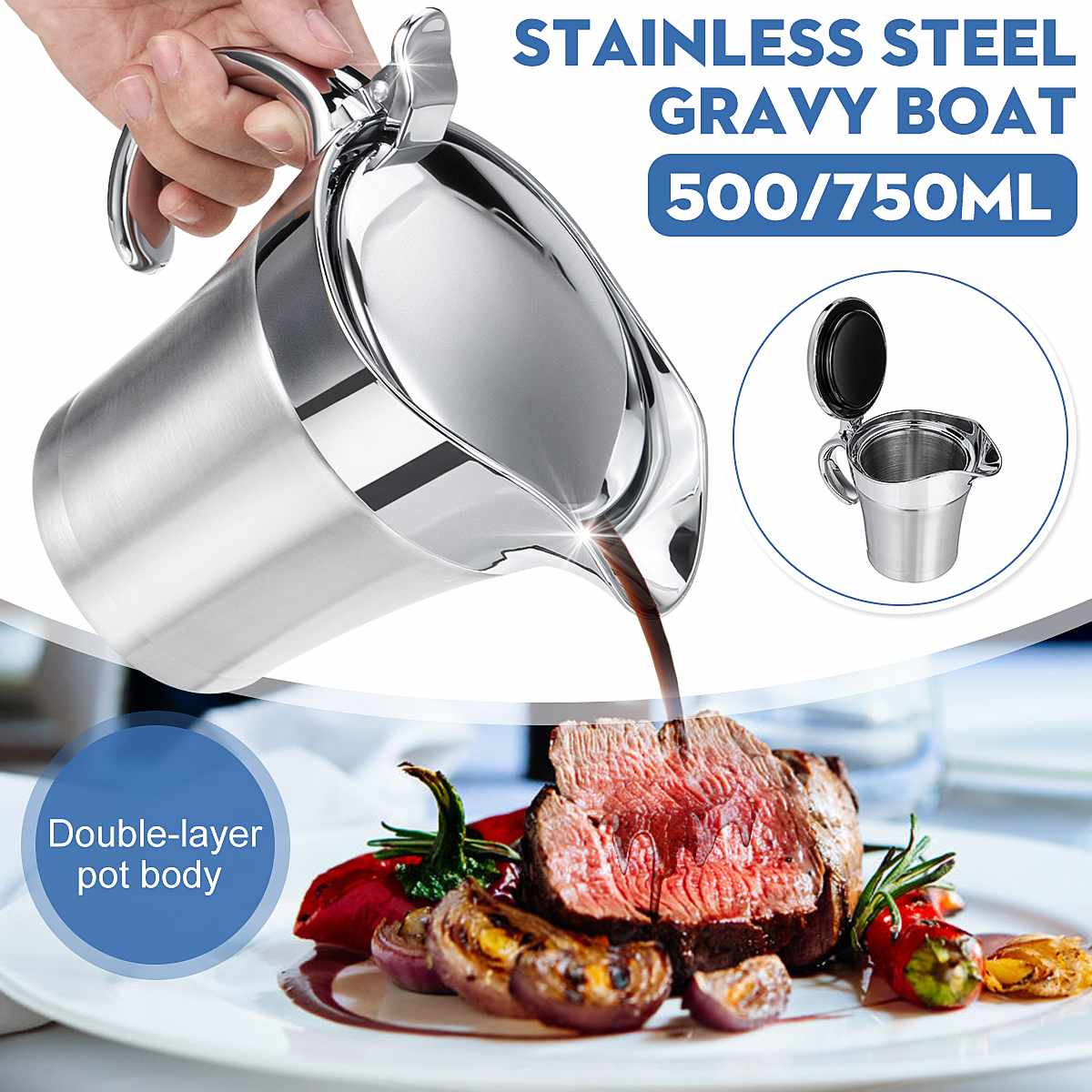 500ML Double Layer Stainless steel Jam Pot Juice Gravy Soup Kettle Water Jug Water Bottle For Home Kitchen Restaurant