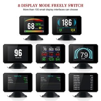 Hot P16 3 Inch LCD HUD obd2 Car Head Up Display Auto Intelligent On Board Computer Car Speedometerhud Display Car Electronics