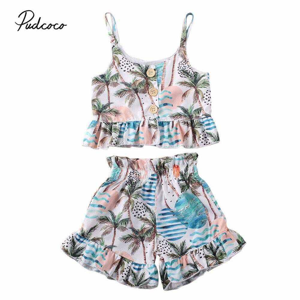 2020 sommer Badeanzug Baby Gril Hohe Taille Bikini Set Badeanzug Gepolsterte Badeanzug Schlank Tops + Shorts Bottoms Bademode 6 m-5 T