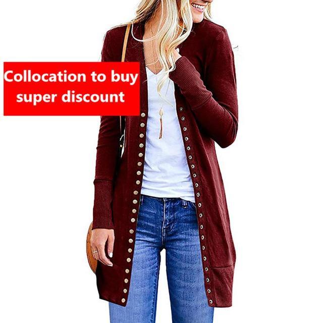 The new 2019 ms autumn render joker cardigan long sleeved jacket unlined upper garment of rivet sexy fashion