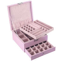 Large Capacity Leather Multi Layer Portable Jewerly Box Home Organization and Storage Makeup Organizer Pink