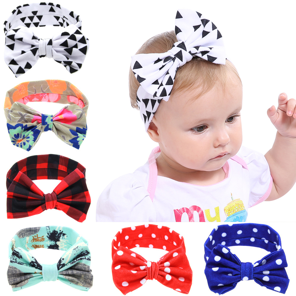Infant  Toddler Baby Girl Headband  Bowknot Hairband Elastic Turban  Headwear