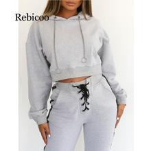купить 2019 autumn women's hoodie casual long-sleeved hooded pullover sweatshirt hooded female jumper bandage pants women по цене 715.79 рублей