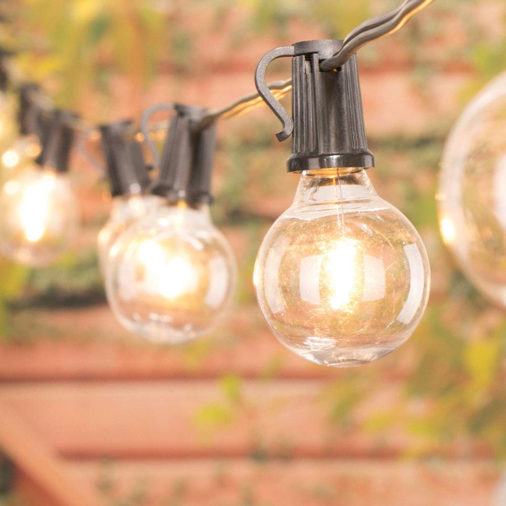 Globe Bulb String Lights 25Ft G40 With 25 Clear Ball Vintage Bulbs Indoor Outdoor Hanging Umbrella Patio For Wedding