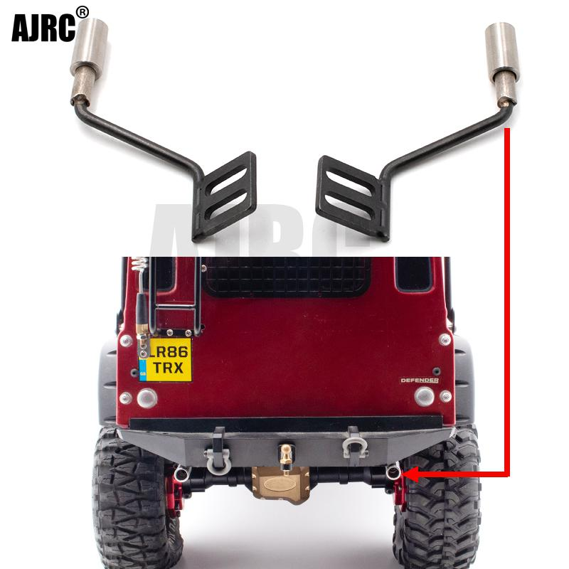 AJRC 1pair Metal Simulation Exhaust Pipe Gas Vent For Kyx Traxxas Trx-4 Trx4 Defender Ford Bronco Rc Car Parts Exhaust Manifold
