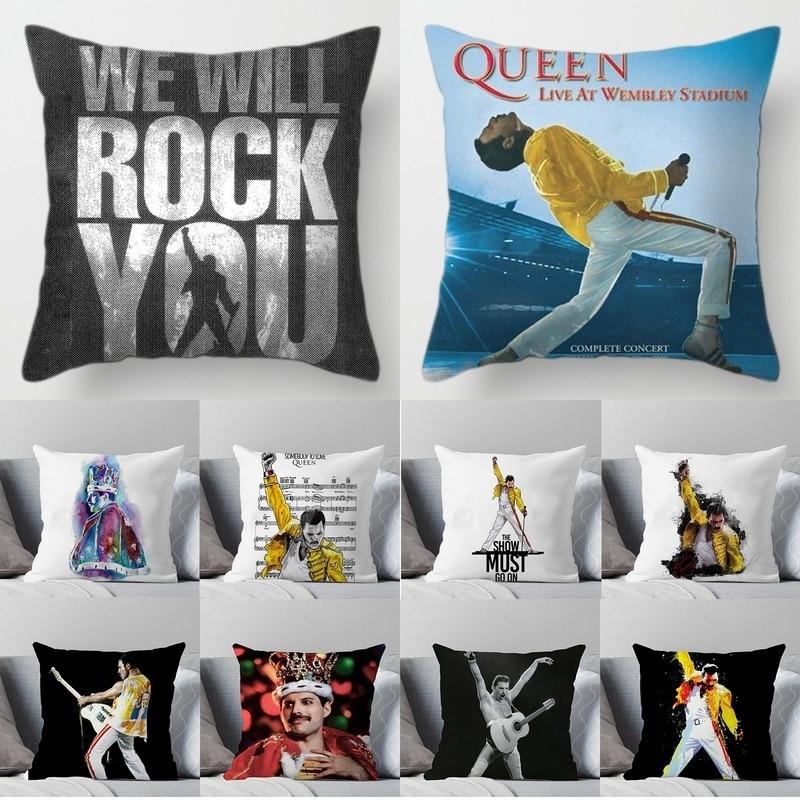 Chanteur Rock Freddie Mercury Queen British Printed Funda De Almohada Sofa Car Bed Pillow Case Rock Legend Singer Cushion Cover
