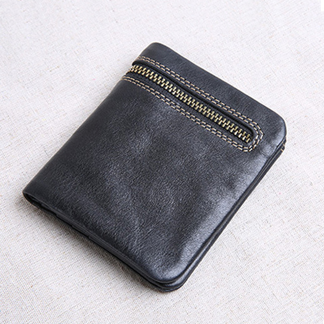 AETOO Mini purse men and women handmade leather ultra-thin soft leather wallet first layer leather wallet short zipper buckle 3