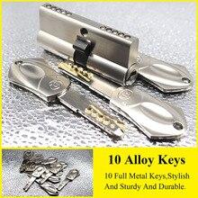 Европейский и американский стандарт безопасности дверной замок цилиндр 65 70 80 90 105 мм 10 ключей из сплава замок из нержавеющей стали