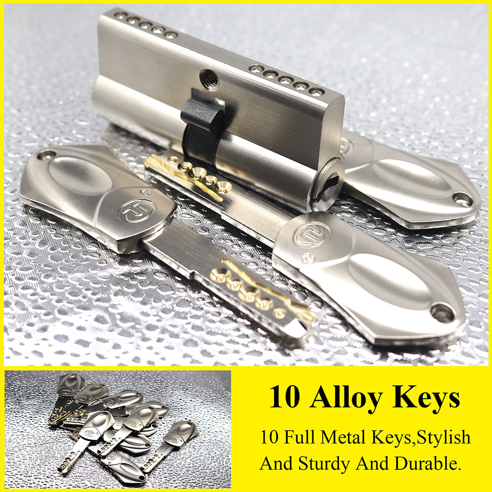European And American Standards Security Door Lock Cylinder 65 70 80 90 105mm 10 Alloy Keys Gate Lock Stainless Steel Lock