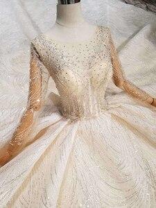 Image 4 - BGW HT43024 Handmade Wedding Dresses 2020 O neck Long Sleeve Luxury Beaded Shiny Lace Bride Wedding Gown Fashion New Material