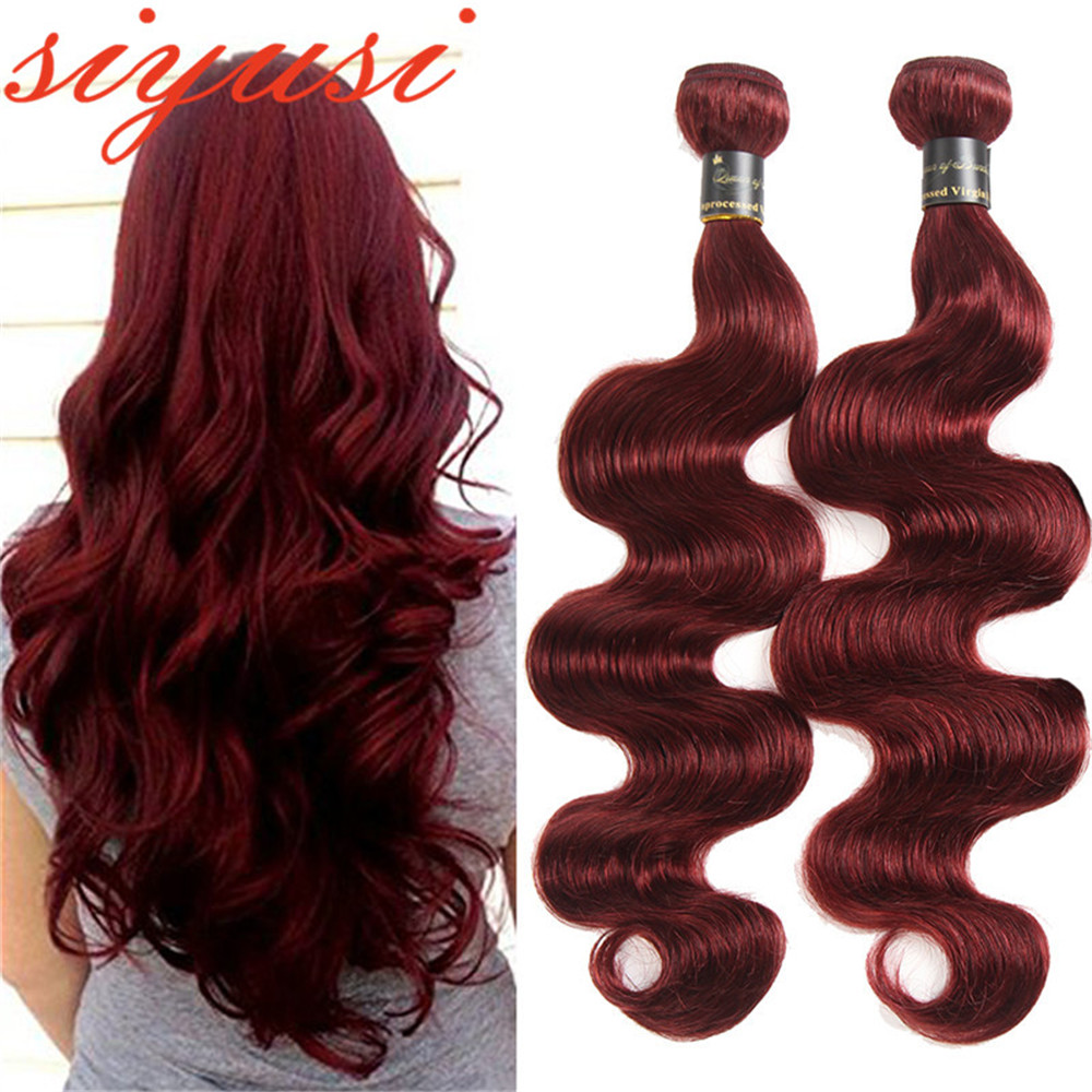 99j Body Wave Bundles Brazilian Weaving Red Hair Weave Bundles Smooth Human Hair Wholesale Burgundy Hair Extensions SIYUSI