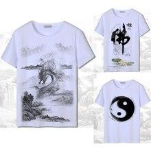 Мужская футболка с коротким рукавом и 3D принтом в китайском стиле, белая футболка Харадзюку, рисунок с чернилами, национальный дракон, Женский японский хлопковый костюм Тан