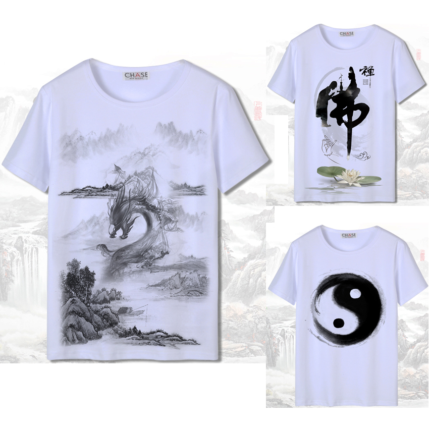 3D Print Short Sleeve Men Chinese Style T-shirt White Harajuku Ink-wash Painting National Dragon Woman Japanese Cotton Tang Suit