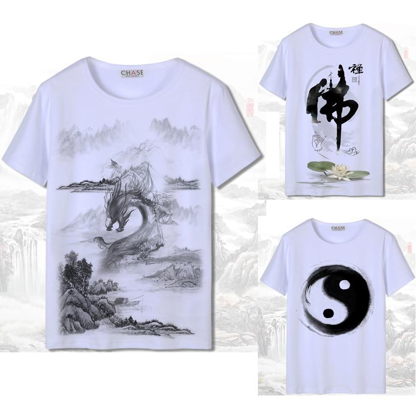 3D Print Short Sleeve Men Chinese Style T-shirt White Harajuku Ink-wash Painting National Dragon Woman Japanese Cotton Tang Suit