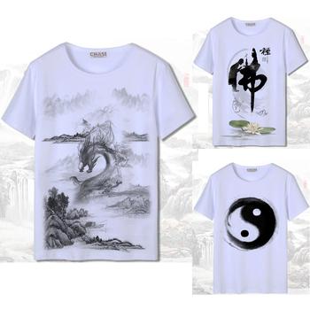 3D druku męska koszulka z krótkim rękawem chiński styl koszulka biały Harajuku Ink-wyblakły obraz krajowych smok kobieta japońska bawełna strój tang tanie i dobre opinie COTTON Suknem Men chinese t-shirt 3D print Hip hop White Men summer clothing Unisex Women tops Dragon flower Women chinese style t-shirt