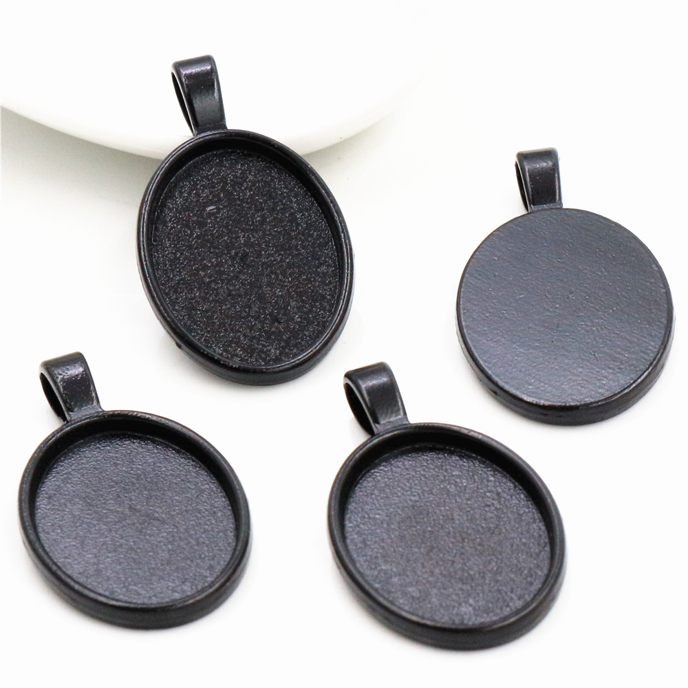 5pcs 18x25mm Inner Size Black  Simple Style Cameo Cabochon Base Setting Charms Pendant Necklace Findings  (C1-06)