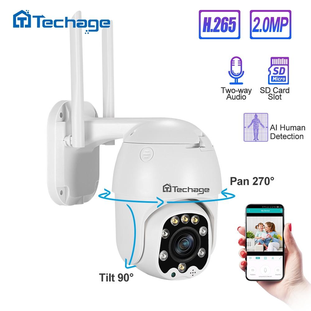 Techage 1080P Pan/Tilt 4x Optical Zoom PTZ IP Camera Night Vision IP66 Waterproof Outdoor HD Onvif Security CCTV Surveillance