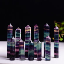 Natural Fluorite Crystal Colorful Striped Fluorite 3 Size Quartz Crystal Stone Point Healing Hexagonal Wand Treatment Stone(China)