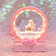 Night Light Sky Music Box Light Multi-function Music Bell Dry Flower Unicorn Night Light Moon Lamp Battery Power Lamps Star Led