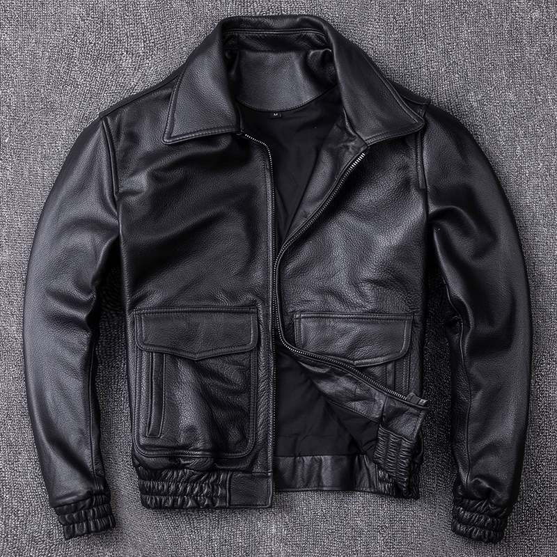 Genuine Cow Leather Jacket Men Clothes 2020 Autumn Bomber Motorcycle Leather Jackets Vintage Short Coat Deri Ceket ZL407