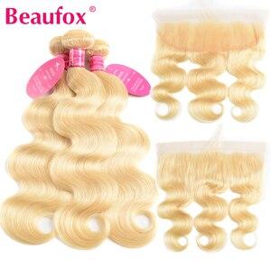 Image 1 - Beaufox 613 sarışın demetleri ile Frontal brezilyalı vücut dalga Frontal Remy sarı insan saçı dantel ön kapatma ile paket