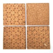 Soft-Wood-Wall-Board Bulletin-Board Cork Wooden Cup-Pad Phellem Square Sharp 4pcs/Set