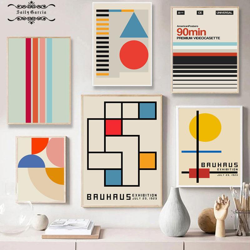 Nórdico retro geométrico padrão poster abstrato linha pintura da lona arte da parede impressões fotos para sala de estar casa cuadros decoração