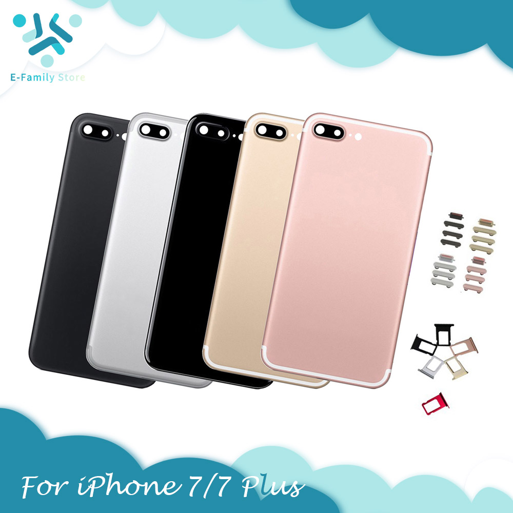 For IPhone 7 & 7 Plus Housing Middle Chassis Frame Back Door Battery Cover Case With Sim Card IMEi Battery Cover Replacement