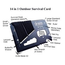 14 in 1 Credit Card Mini Wallet SOS Survival Knife Stainless Steel Multi Functional Outdoor Camping Ninja Rescue Pocket Tools new 11 in 1 credit card size wallet knife stainless steel survival multitool utility tool for camping hiking survival e2