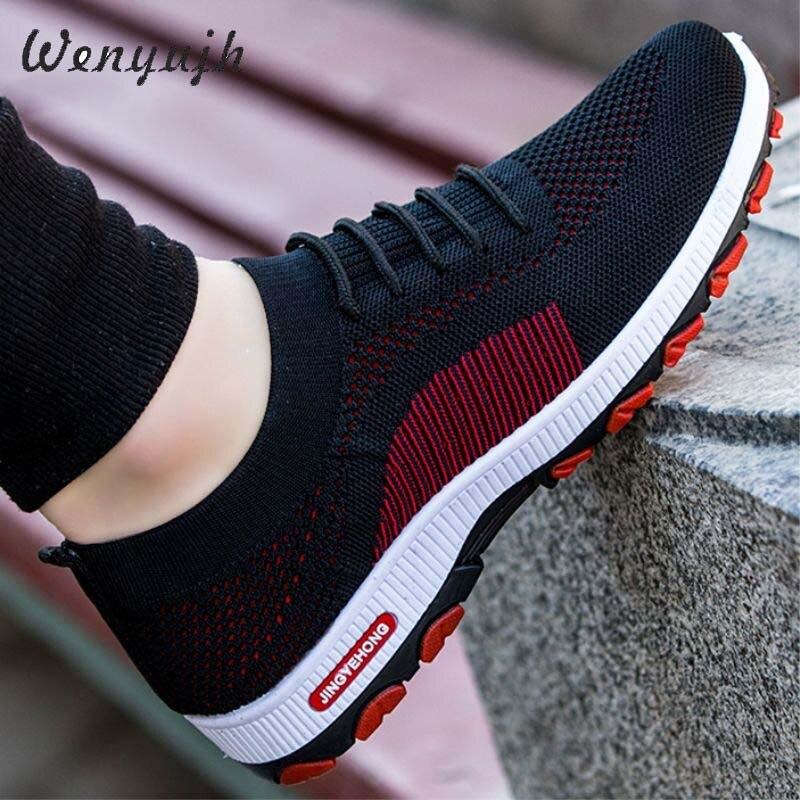 Wenyujh Sneakers Mode Outdoor Heren Kleur Hoge Kwaliteit Merk Bandage Ademende Schoenen Mesh Zachte Letters Tennis Heren Schoenen