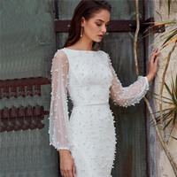 White Muslim Evening Dresses 2019 Mermaid Long Sleeves Pearls Dubai Saudi Arabic Long Evening Gown Prom