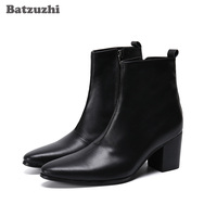 Batzuzhi 7.5cm High Heels Men's Boots Pointed Toe Formal Black Leather Boots Men Business Gentleman botas hombre Party Footwear