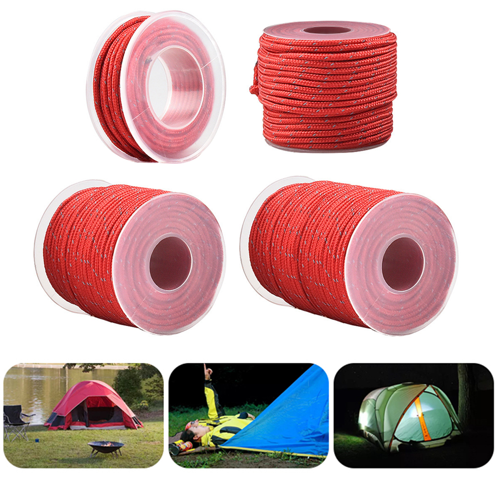 4mm Reflective Tent Paracord Rope Outdoor Camping Hiking Climbing Canopy Parachute Cord Lanyard Clothesline 5M / 10M / 20M / 50M