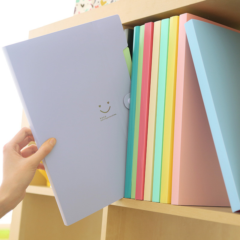 Kawaii Portfolio File Folder Cute Candy Color Folder 5 Layer Insert Storage Bag A4 Office Stationery File Organizer WJJ001G
