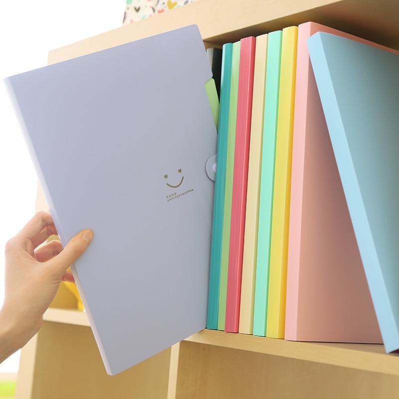 Kawaii Portfolio File Folder Cute Candy Color Folder 5 Layer Insert Storage Bag A4 Office Stationery File Organizer WJJ001G