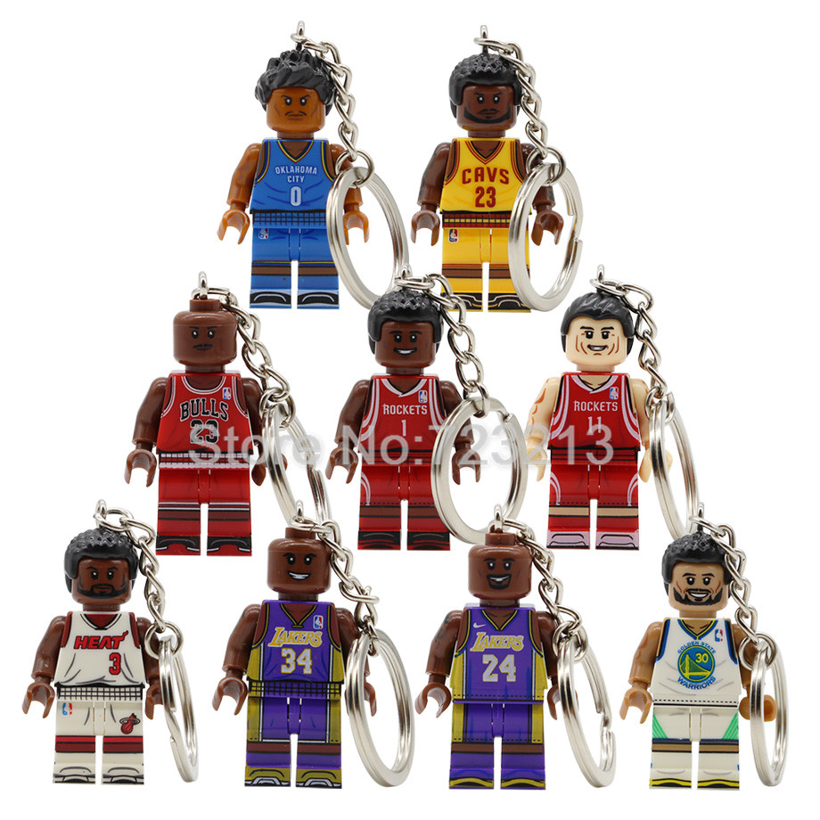 New Basketball Player Figure Keychain Curry Kobe Dwyane Wade Jordan Track Mcgrady James Russell Model Building Blocks Toys