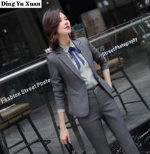 2020 New Office Uniform Designs Women Work Office Trouser Suit Womens Black Gray Formal Pant Suits Set 2 Pieces Blazer and Pants