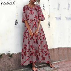 Платье ZANZEA женское вечернее длинное с коротким рукавом, винтажный сарафан с цветочным принтом в богемном стиле, кафтан, 5XL, на лето