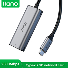LLANO Wired 2500M USB C 2.5G External Network Card Type-C To RJ45 Converter Ethernet Lan Adapter Hub For MacBook Pro Ethernet