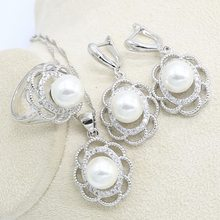 White Pearl White Zircon 925 Sterling Silver Jewelry Set for Women Earring Necklace Pendant Ring Birthday Gift(China)