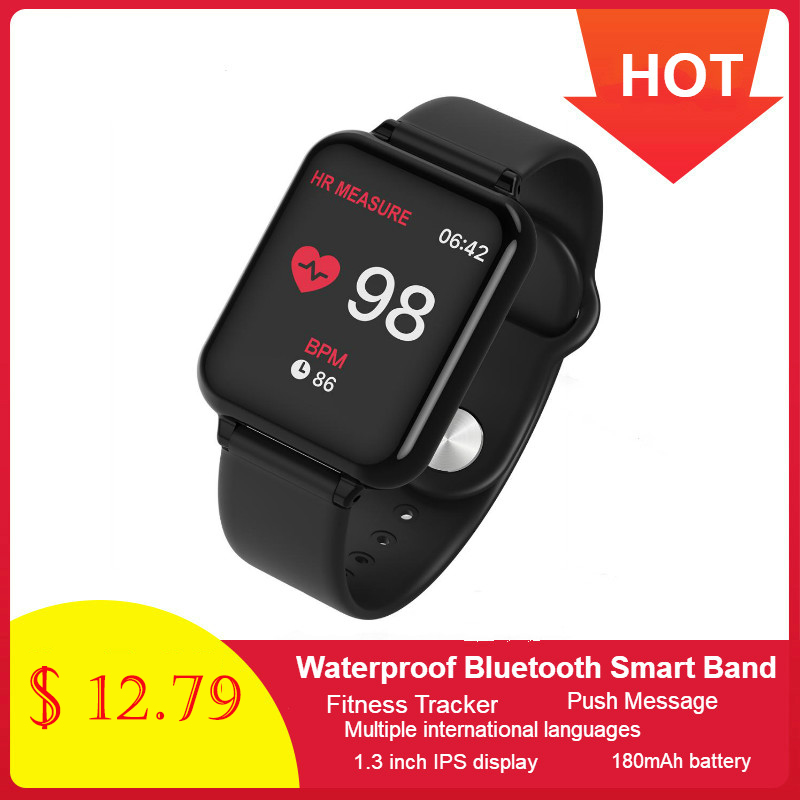 696 new B57 color large screen smart bracelet heart rate blood pressure blood oxygen <font><b>monitoring</b></font> multi-sports mode smart watch image