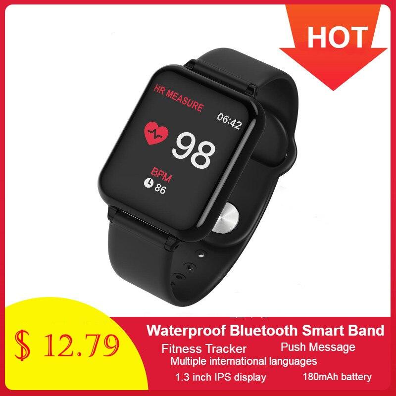 696 New B57 Color Large Screen Smart Bracelet Heart Rate Blood Pressure Blood Oxygen Monitoring Multi-sports Mode Smart Watch